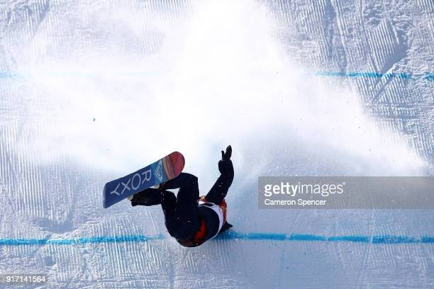 Aimee Fuller of Great Britain crashes in the Snowboard Ladies' Slopestyle Final on day three of the PyeongChang 2018 Winter Olympic Games at Phoenix...