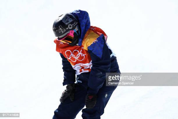 Aimee Fuller of Great Britain reacts after crashing in the Snowboard Ladies' Slopestyle Final on day three of the PyeongChang 2018 Winter Olympic...