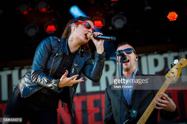 Aimee Interrupter and Justin Bivona of The Interrupters perform at the 77 Montreal Festival at Parc JeanDrapeau on July 27 2018 in Montreal Canada