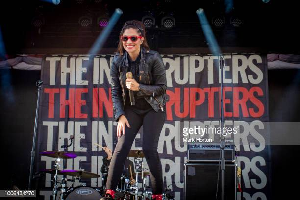Aimee Interrupter of The Interrupters performs at the 77 Montreal Festival at Parc JeanDrapeau on July 27 2018 in Montreal Canada