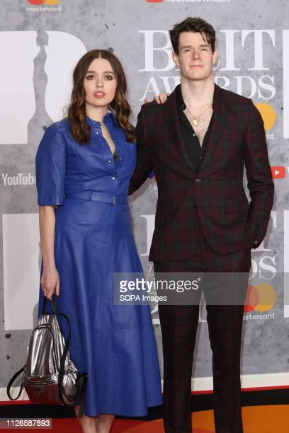 Aimee Lou Wood and Connor Swindells are seen on the red carpet during The BRIT Awards 2019 at The O2 Peninsula Square in London