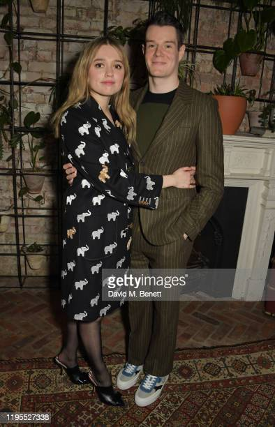 Aimee Lou Wood and Connor Swindells attend the press night after party for Uncle Vanya at Sophie's on January 23 2020 in London England