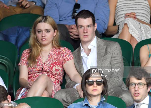 Aimee Lou Wood and Connor Swindle attend day nine of the Wimbledon Tennis Championships at All England Lawn Tennis and Croquet Club on July 10 2019...