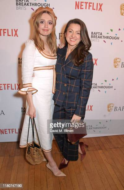 Aimee Lou Wood and Jo Hartley attend the BAFTA Breakthrough Brits celebration event in partnership with Netflix at Banqueting House on November 7...