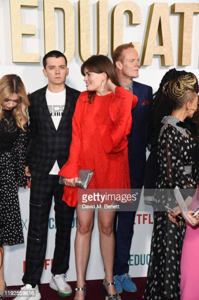 Aimee Lou Wood Asa Butterfield Emma Mackey and Alistair Petrie attend the World Premiere of Netflix's Sex Education Season 2 at The Genesis Cinema on...