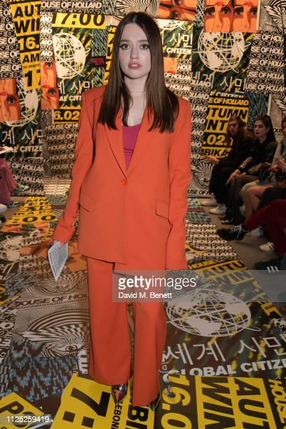 Aimee Lou Wood attends the House of Holland AW19 London Fashion Week catwalk show showcasing the limitededition Vype ePen 3 / vaping pendant created...