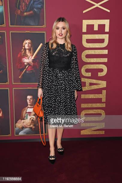 Aimee Lou Wood attends the World Premiere of Netflix's Sex Education Season 2 at The Genesis Cinema on January 8 2020 in London England