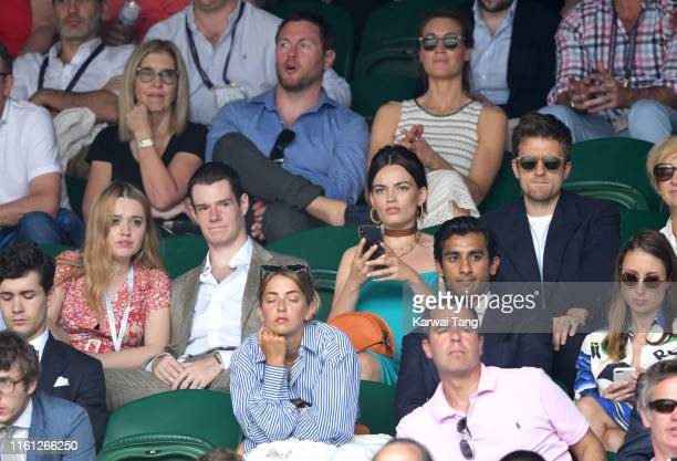 Aimee Lou Wood Connor Swindle Emma Mackey and Greg James attend day nine of the Wimbledon Tennis Championships at All England Lawn Tennis and Croquet...