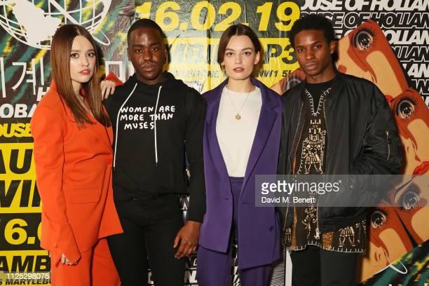 Aimee Lou Wood Ncuti Gatwa Emma Mackey and Kedar WilliamsStirling attend the House of Holland AW19 London Fashion Week catwalk show showcasing the...