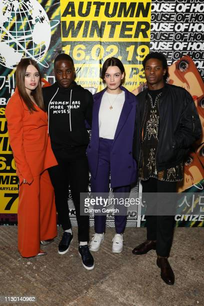 Aimee Lou Wood Ncuti Gatwa Emma Mackey and Kedar WilliamsStirling attend the House of Holland show during London Fashion Week February 2019 at the...