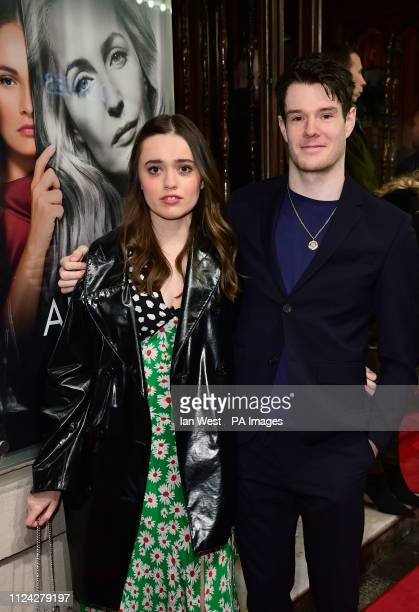 Aimee LouWood and Connor Swindells arriving for the opening night of All About Eve starring Gillian Anderson and Lily James at the Noel Coward...