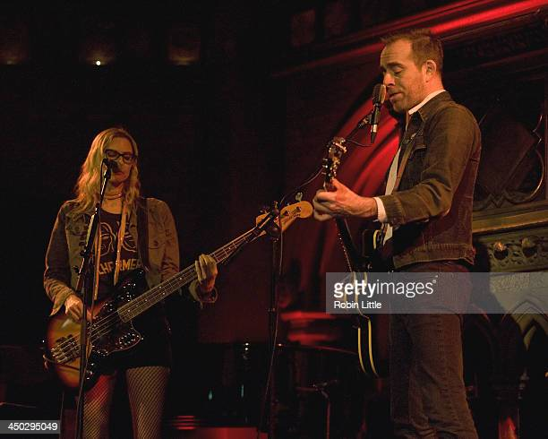 Aimee Mann and Ted Leo perform on stage at the Union Chapel on November 17 2013 in London United Kingdom