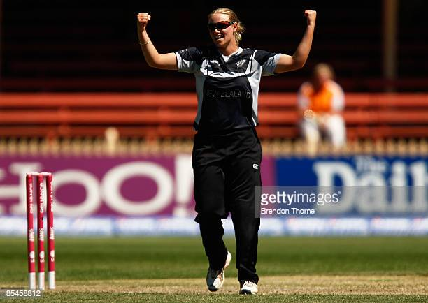 Aimee Mason of New Zealand celebrates after claiming the wicket of Anjum Chopra of India during the ICC Women's World Cup 2009 Super Six match...