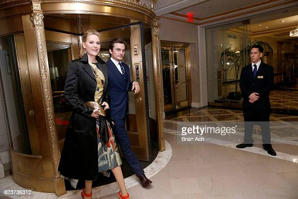 Aimee Mullins and actor Rupert Friend arrive at the L'Oreal Paris Women of Worth Celebration 2016 Arrivals on November 16 2016 in New York City