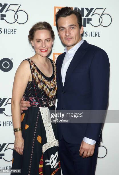 Aimee Mullins and actor Rupert Friend attend the 56th New York Film Festival premiere of 'At Eternity's Gate' at Alice Tully Hall Lincoln Center on...