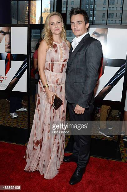 Aimee Mullins and actor Rupert Friend attend the New York premiere of 'Hitman Agent 47' at AMC Empire 25 theater on August 13 2015 in New York City