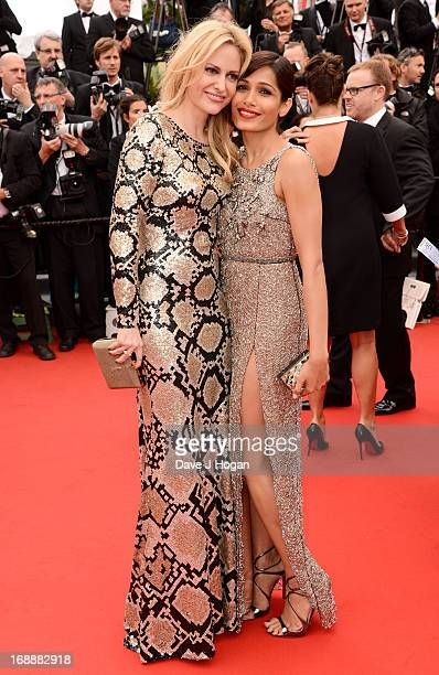 Aimee Mullins and Actress Frieda Pinto attends the 'Jeune Jolie' premiere during The 66th Annual Cannes Film Festival at the Palais des Festivals on...