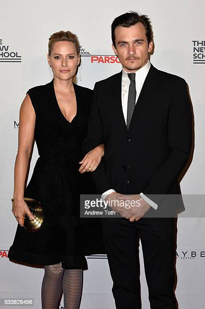 Aimee Mullins and Rupert Friend attend the 2016 Parsons Benefit at Chelsea Piers on May 23 2016 in New York City