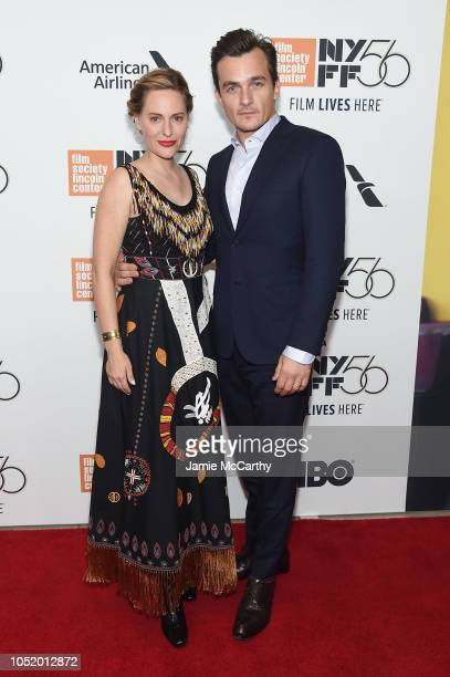 Aimee Mullins and Rupert Friend attend the 'At Eternity's Gate' premiere during the 56th New York Film Festival at Alice Tully Hall Lincoln Center on...
