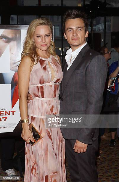 Aimee Mullins and Rupert Friend attend the 'Hitman Agent 47' New York premiere at AMC Empire 25 theater on August 13 2015 in New York City