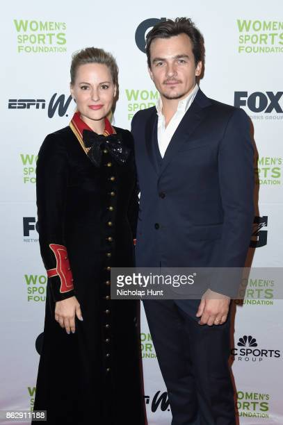 Aimee Mullins and Rupert Friend attend The Women's Sports Foundation's 38th Annual Salute To Women in Sports Awards Gala on October 18 2017 in New...