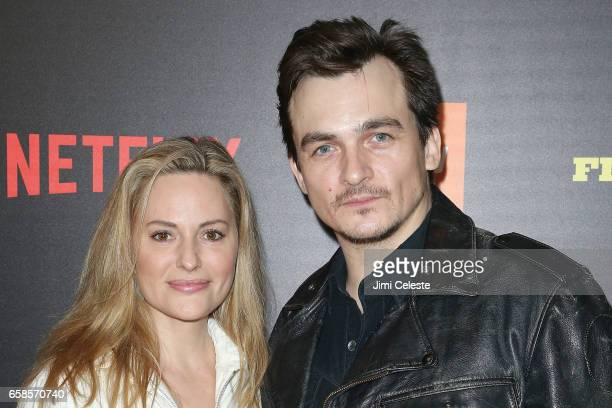 Aimee Mullins and Rupert Friend attends the world premiere of 'Five Came Back' at Alice Tully Hall Lincoln Center on March 27 2017 in New York City