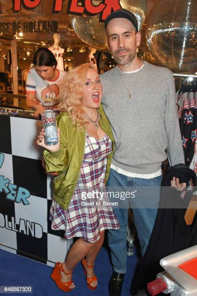 Aimee Phillips and Richard Sloan attend the launch of the House of Holland x Woody Woodpecker London Fashion Week pop up at Fenwick Of Bond Street on...