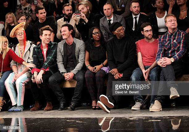 Aimee Phillips Ian Chaloner Nick Grimshaw Luke Evans Sofia Davis Samuel L Jackson Beardyman and Adam Dewhurst sit in the front row during the...