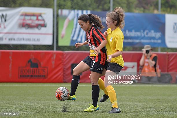 Aimee Phillips of Canterbury controls the ball from Mikaela Hunt of Capital during the match between Canterbury Pride and Capital Football at English...