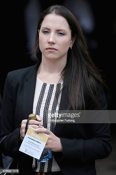 Aimee Pistorius, the sister of Oscar Pistorius, leaves North Gauteng High Court at the end of the fourth day of his trial on March 6, 2014 in...