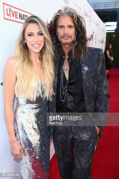 Aimee Preston and Steven Tyler at Steven Tyler and Live Nation presents Inaugural Janie's Fund Gala GRAMMY Viewing Party at Red Studios on January 28...