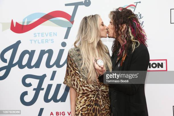 Aimee Preston and Steven Tyler attend Steven Tyler's Second Annual GRAMMY Awards Viewing Party to benefit Janie's Fund presented by Live Nation at...