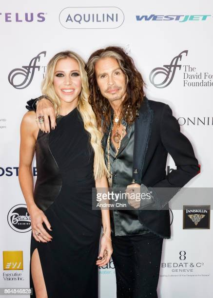 Aimee Preston and Steven Tyler attend the David Foster Foundation Gala at Rogers Arena on October 21 2017 in Vancouver Canada