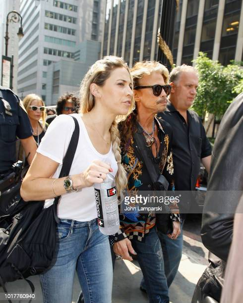 Aimee Preston and Steven Tyler of Aerosmith depart for the Tonight Show appearance on August 16 2018 in New York City