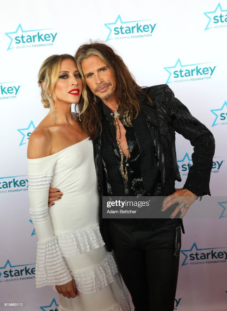 Aimee Preston and Steven Tyler pose on the red carpet at the 2017 Starkey Hearing Foundation So the World May Hear Awards Gala at the Saint Paul RiverCentre on July 16, 2017 in St. Paul, Minnesota.