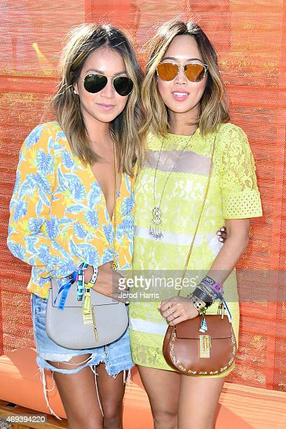 Aimee Song and Jules Sarinana attend Refinery29 x AOK Present Paradiso Day 1 on April 11 2015 in Palm Springs California