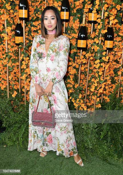 Aimee Song arrives at the 9th Annual Veuve Clicquot Polo Classic Los Angeles at Will Rogers State Historic Park on October 6 2018 in Pacific...