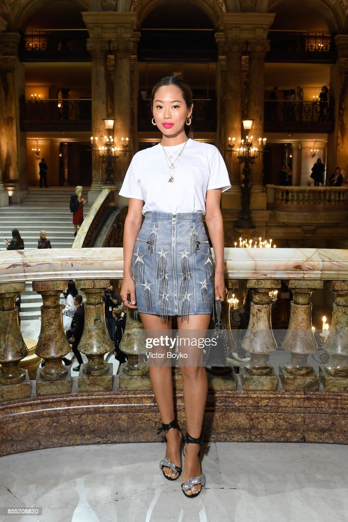 Aimee Song attends the Balmain show as part of the Paris Fashion Week Womenswear Spring/Summer 2018 on September 28, 2017 in Paris, France.
