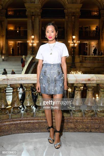 Aimee Song attends the Balmain show as part of the Paris Fashion Week Womenswear Spring/Summer 2018 on September 28 2017 in Paris France