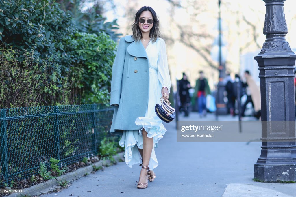 Aimee Song, fashion blogger from Song of Style, is seen, outside the Chloe show, during Paris Fashion Week Womenswear Fall/Winter 2017/2018, on March 2, 2017 in Paris, France.