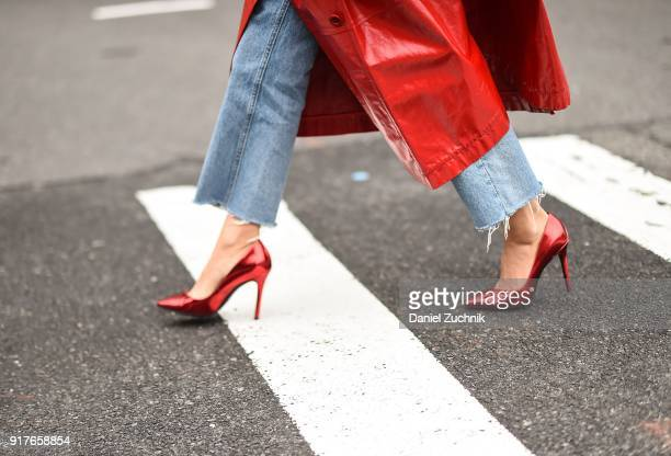 Aimee Song, heels detail, is seen outside the Ralph Lauren show during New York Fashion Week: Women's A/W 2018 on February 12, 2018 in New York City.
