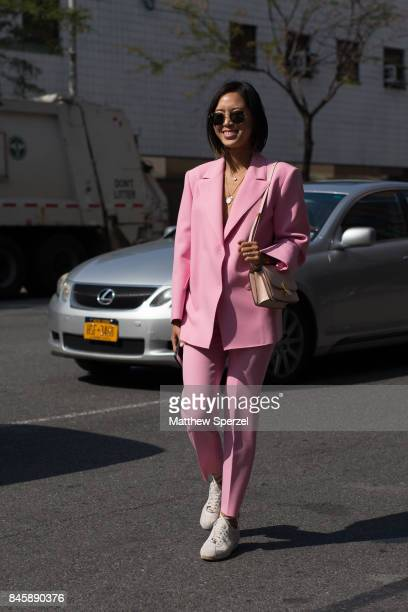Aimee Song is seen attending 31 Phillip Lim during New York Fashion Week wearing MSGM Nike ALC Celine on September 11 2017 in New York City