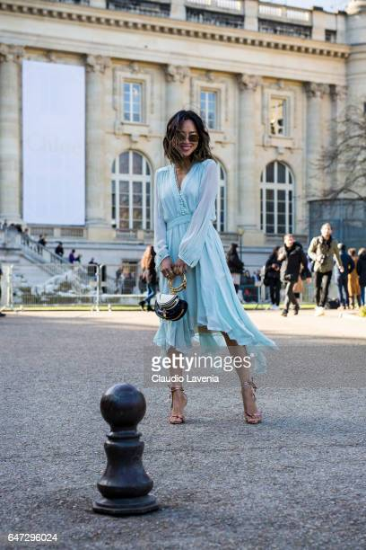 Aimee Song is seen before the Chloe show during Paris Fashion Week Womenswear Fall/Winter 2017/2018 on March 2 2017 in Paris France