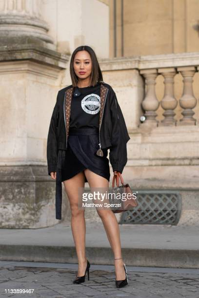 Aimee Song is seen on the street attending LOUIS VUITTON during Paris Fashion Week AW19 wearing LOUIS VUITTON on March 05 2019 in Paris France