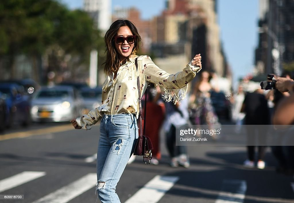 Aimee Song is seen outside the Coach show during New York Fashion Week Spring 2017 on September 13, 2016 in New York City.