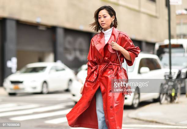 Aimee Song is seen outside the Ralph Lauren show during New York Fashion Week Women's A/W 2018 on February 12 2018 in New York City