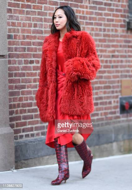 Aimee Song is seen wearing a red fur coat red dress and snake skin boots outside the Sies Marjan show during New York Fashion Week Fall/Winter 2019...