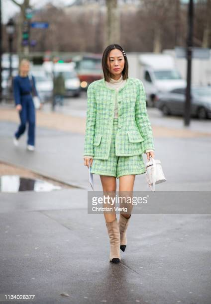 Aimee Song is seen wearing green plaid shorts jacket outside Chanel during Paris Fashion Week Womenswear Fall/Winter 2019/2020 on March 05 2019 in...