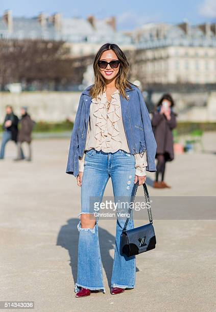 Aimee Song outside Elie Saab during the Paris Fashion Week Womenswear Fall/Winter 2016/2017 on March 5 2016 in Paris France