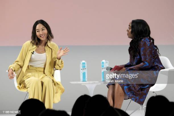 Aimee Song speaks with Teen Vogue editor-in-chief Lindsay Peoples Wagner at the 2019 Teen Vogue Summit at Goya Studios on November 02, 2019 in...